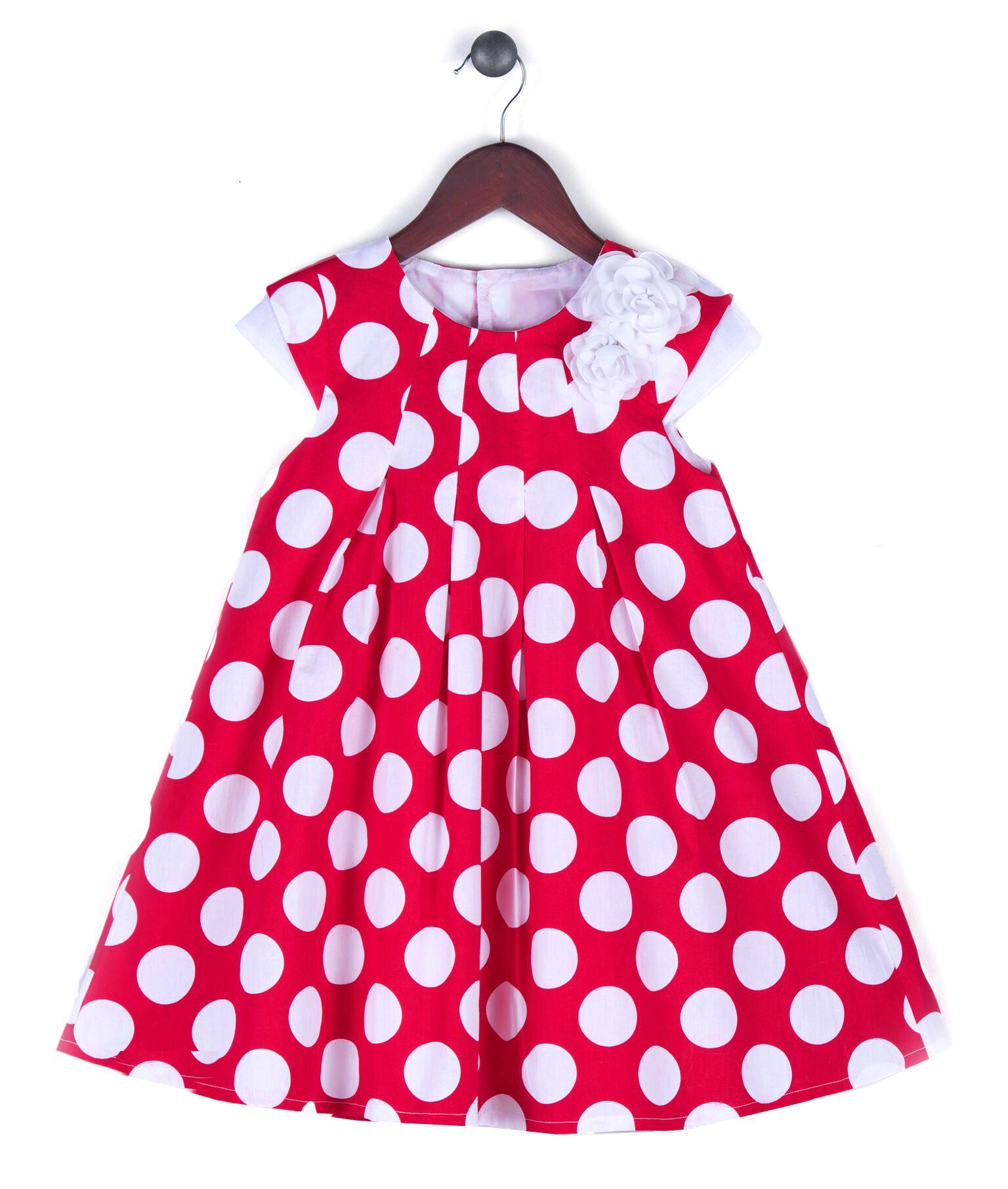 7b5482bfe591f Joe and Ella Fashion Dievčenské šaty Niki bodkované - červeno-biele, 92 cm