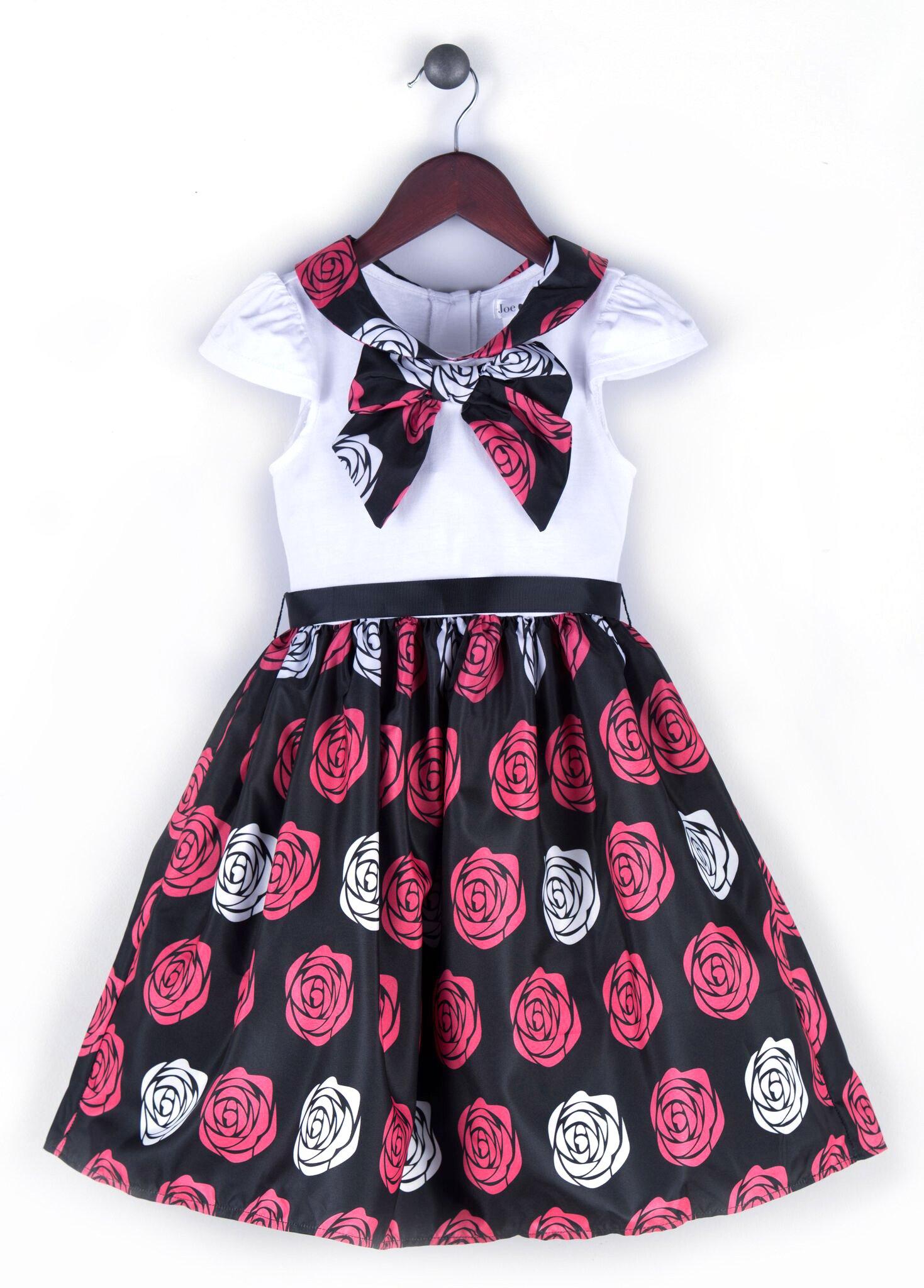 2a57882c54cc Joe and Ella Fashion Dievčenské šaty Penelope s ružičkami - čierno-červeno- biele