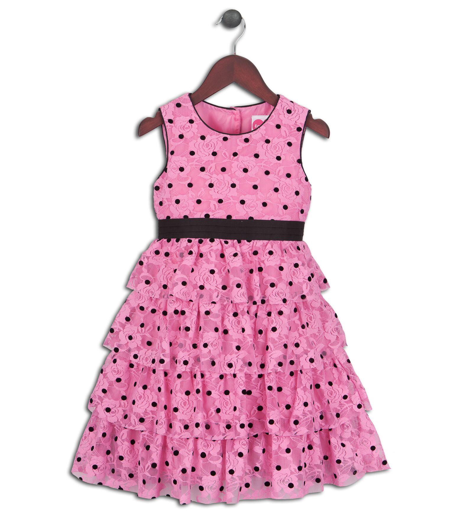 Joe and Ella Fashion Dievčenské šaty Rose bodkované - ružové 2b4b1ffc76a