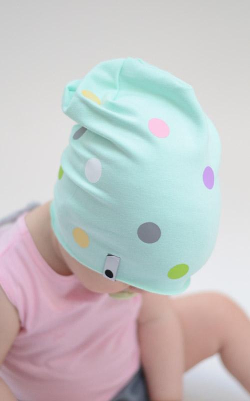 Lamama Detská čiapka bodkovaná - svetlo zelená c29a03b74ca