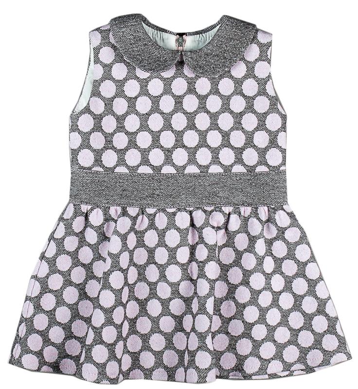 017df2913691 MMDadak Dievčenské bodkované šaty - šedo-ružové