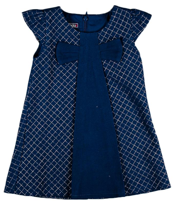 26fe65e54f4a MMDadak Dievčenské kárované šaty s mašľou - tmavo modré