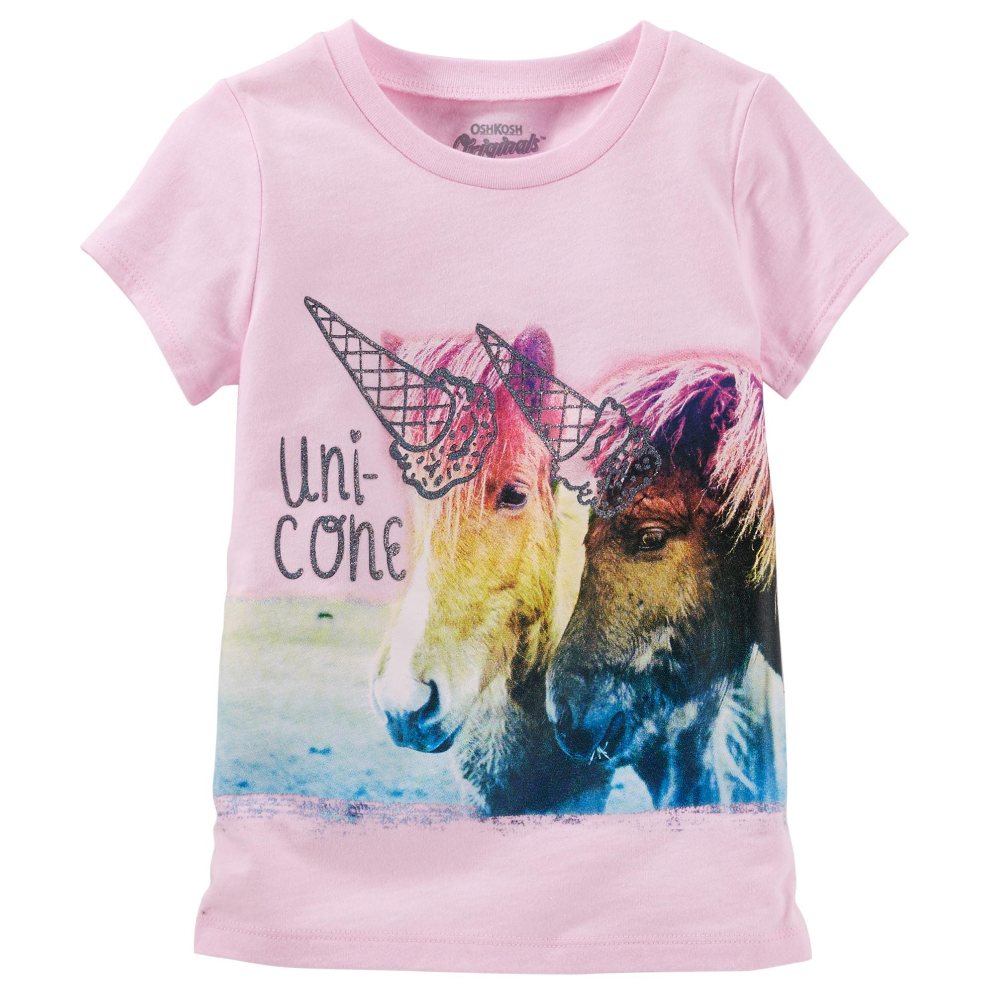 2bdba1a8b500 Oshkosh Dievčenské tričko s potlačou koní - ružové