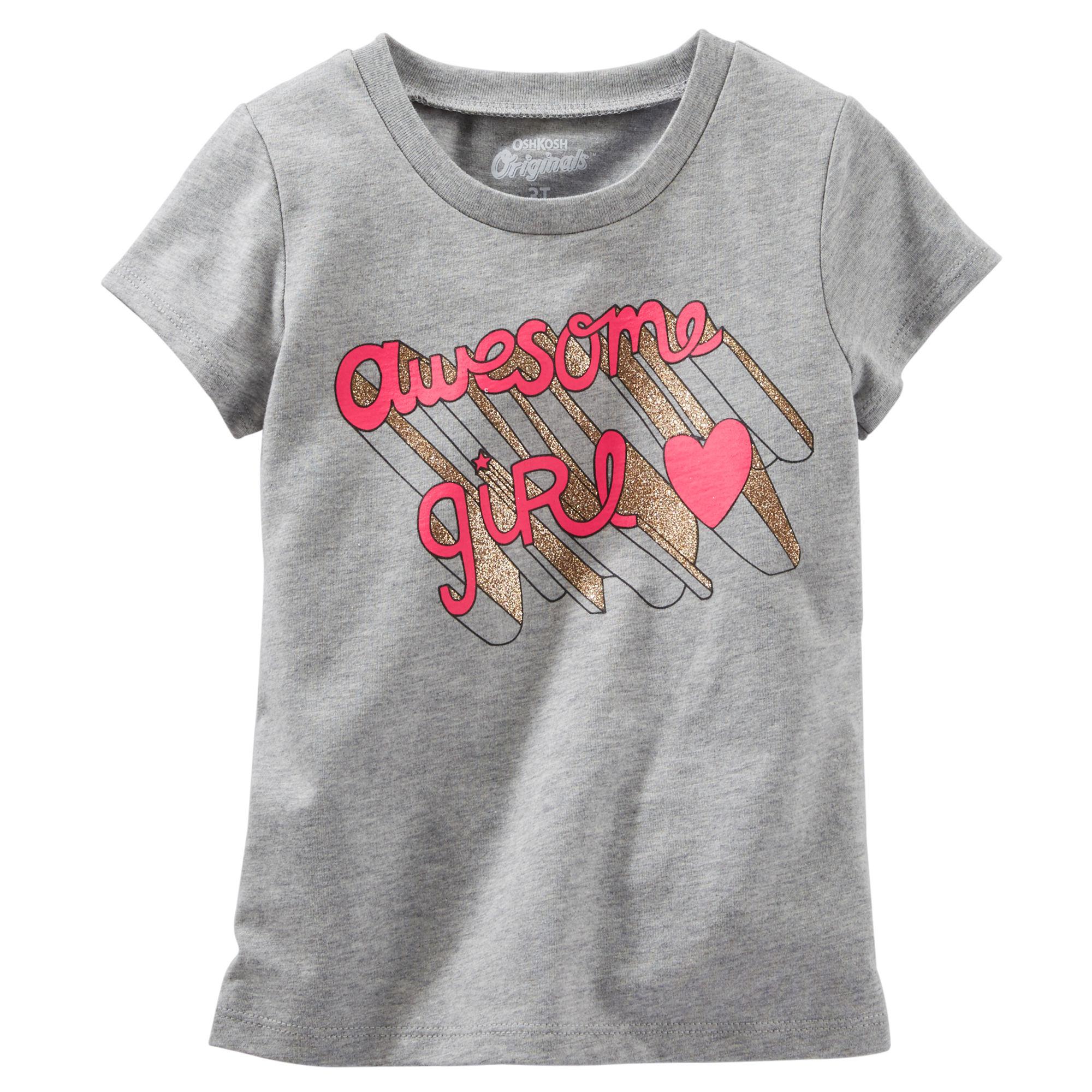 6b5a1789645e Oshkosh Dievčenské tričko s ružovým nápisom - šedé