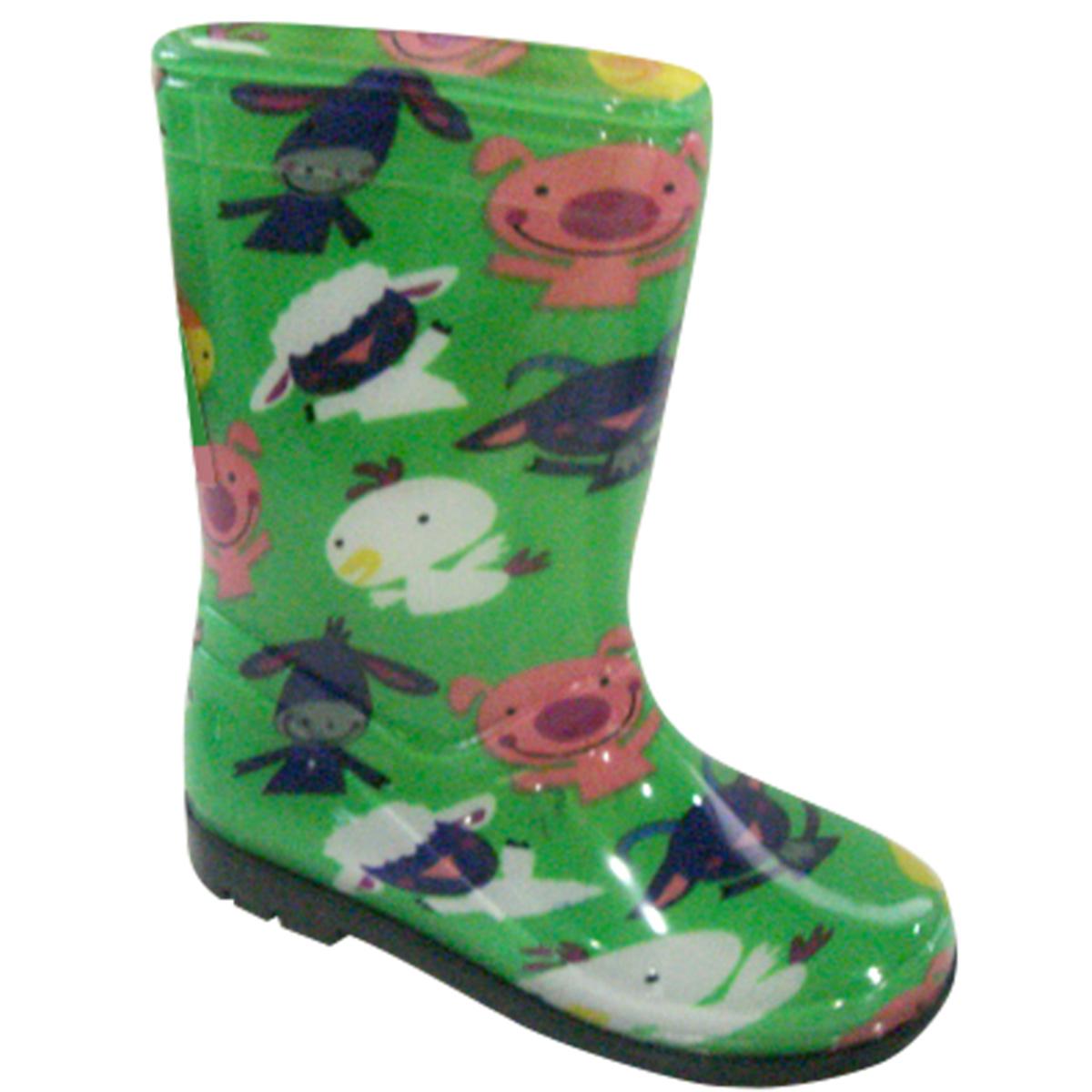 5514ddc63a282 PIDILIDI Detské čižmy s farebnými zvieratkami - zelené, EUR 22 ...