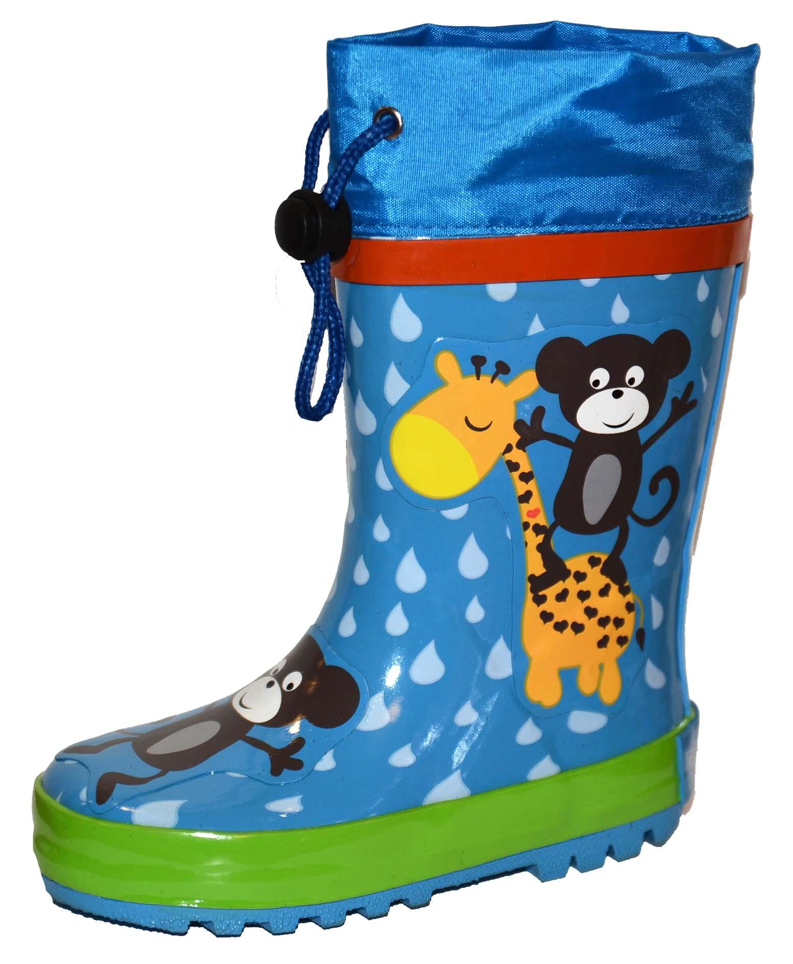 PIDILIDI Detské čižmy s opičkami - modré e94f93725c3