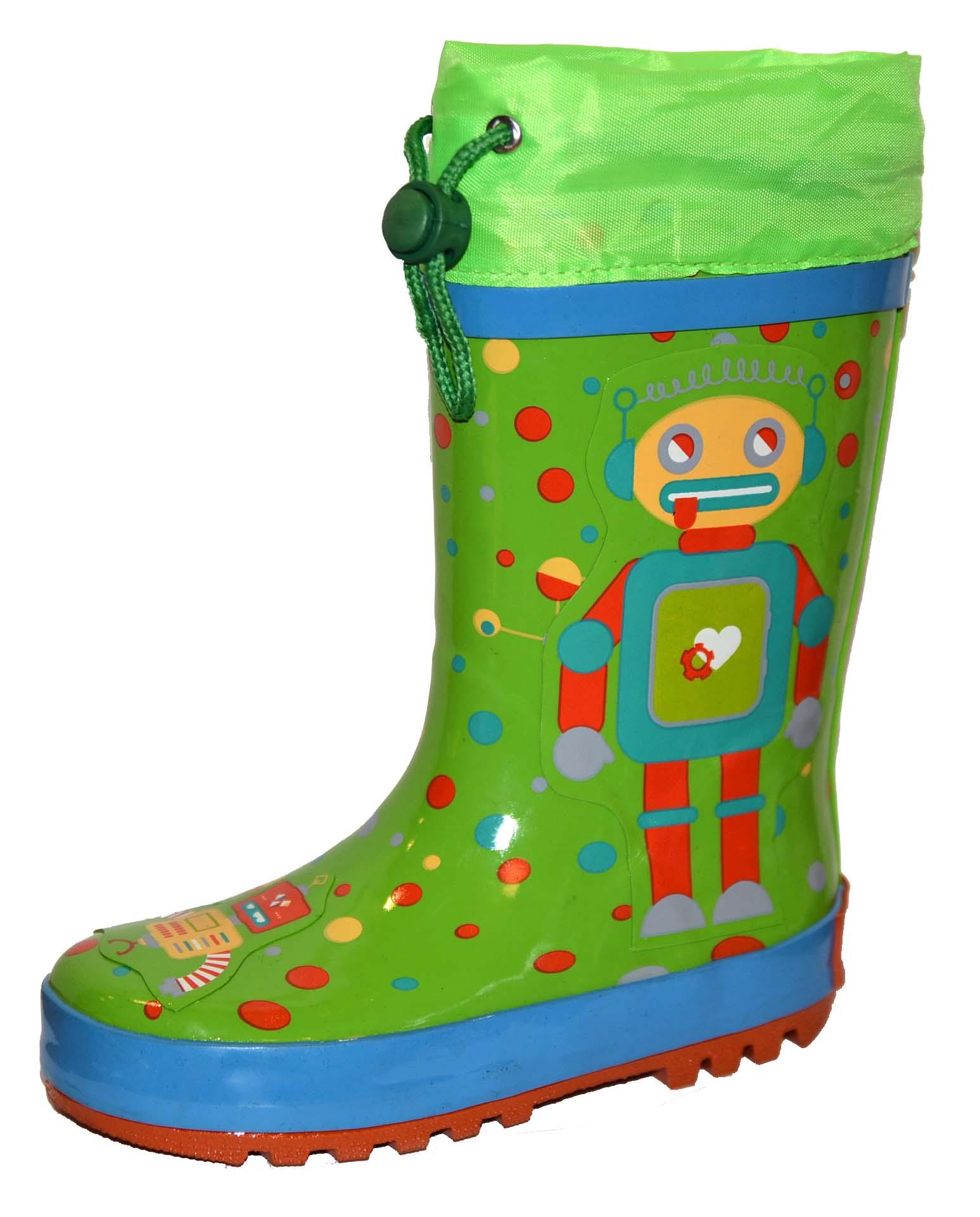 PIDILIDI Detské čižmy s robotom - zelené 19124ff5387