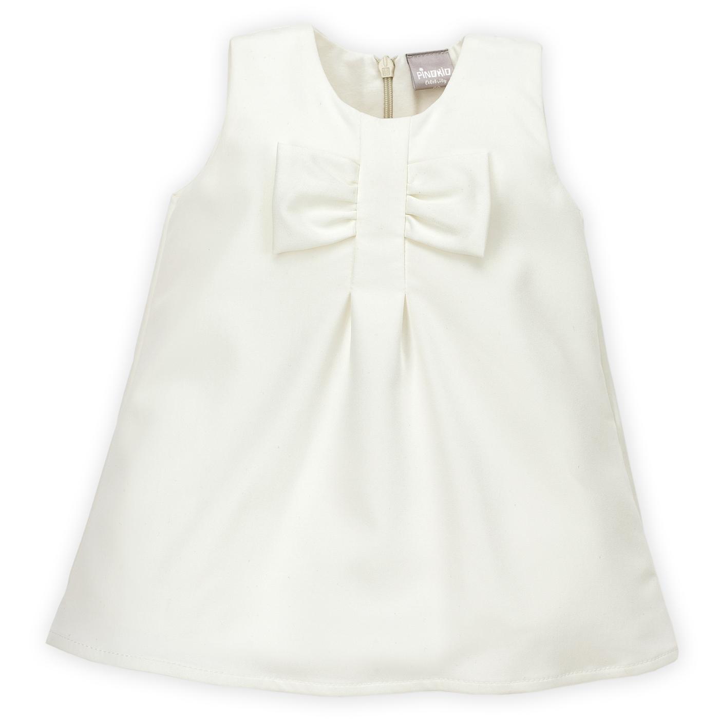 Pinokio Dievčenské šaty s mašľou - biele c1fbf60aa73