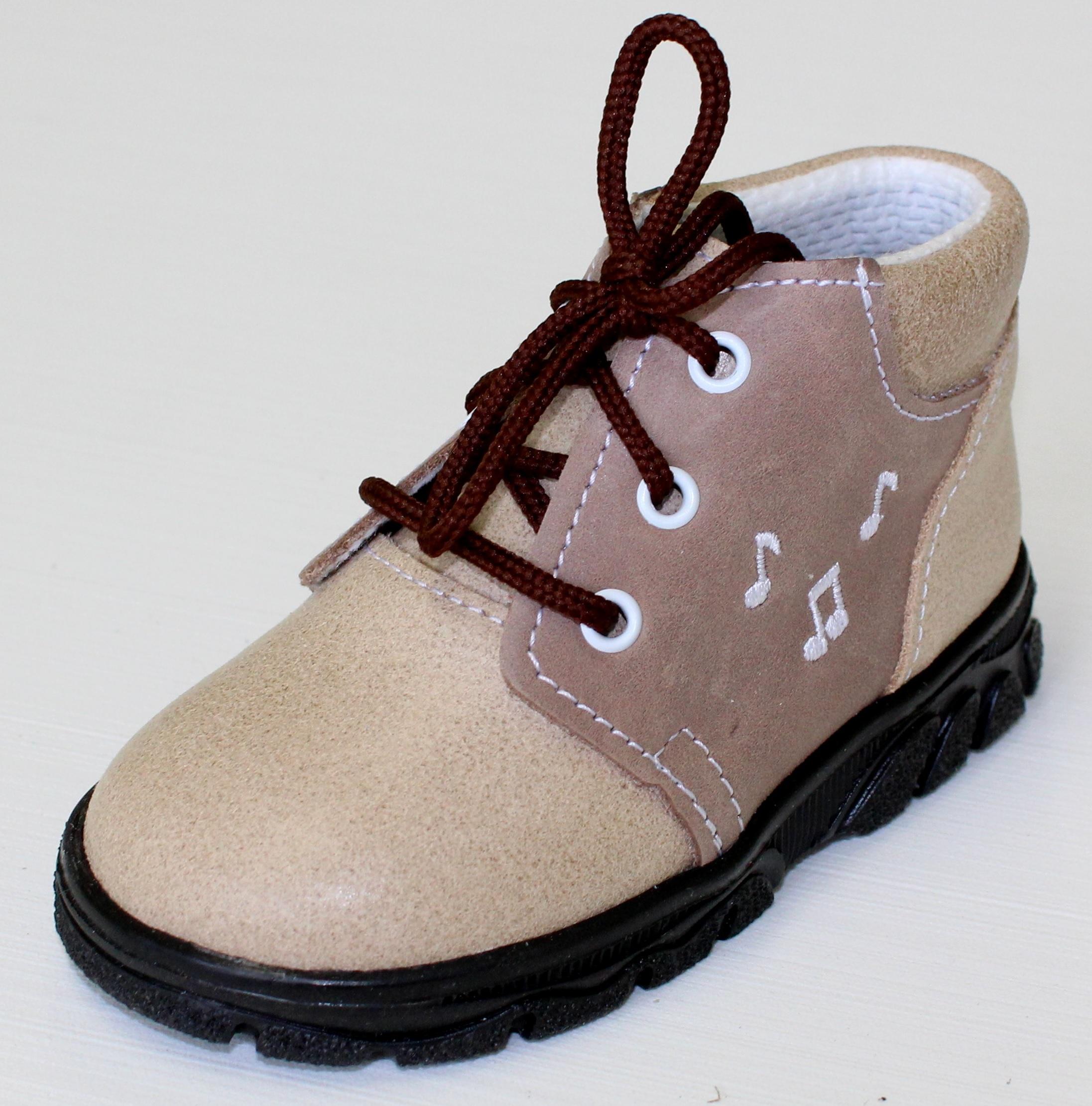 39a540bb3e8f První krůčky Detské kožené celoročné topánky Noty - svetlo hnedá   tmavo  hnedá