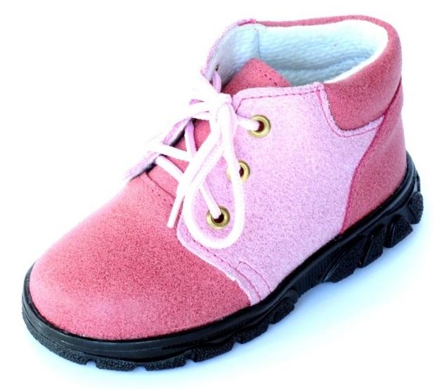 První krůčky Dievčenské kožené celoročné topánky so šnúrkami - ružové ab82cb421f7