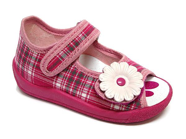 Ren But Dievčenské kockované papučky s kvetinkou - ružové 165255f4de