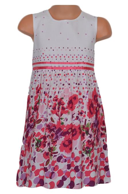966aa22141fe Topo Dievčenské kvetované šaty - ružovo-biele