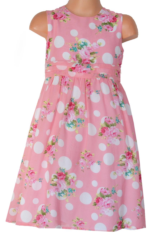 bd26e6b70f5c Topo Dievčenské kvetované šaty s bodkami - ružové