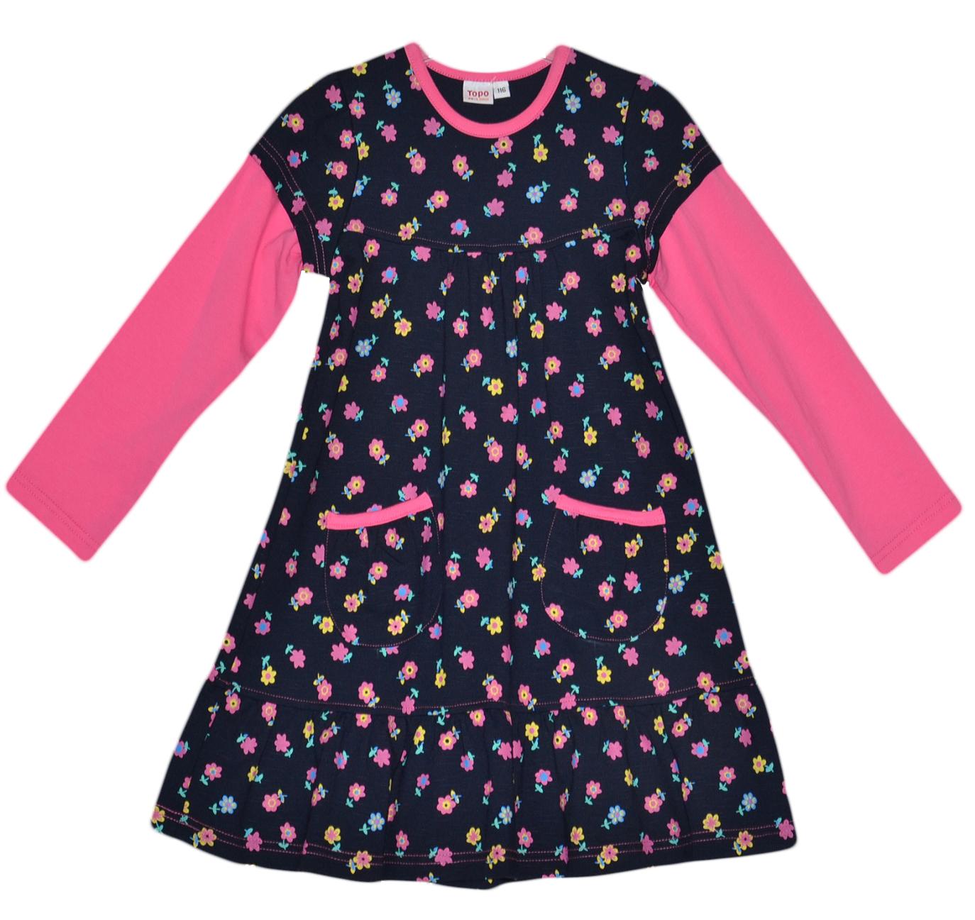 21dfbc42c216 Topo Dievčenské kvetované šaty s vreckami - farebné