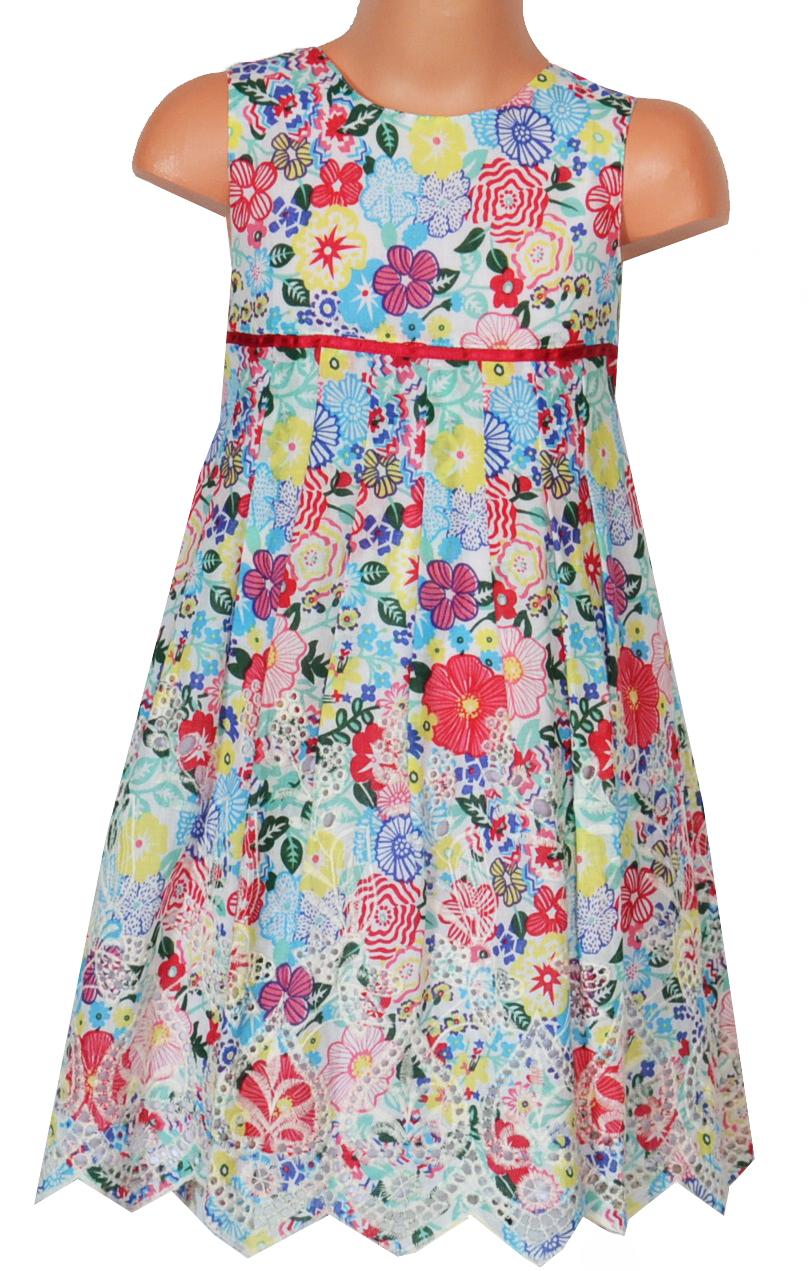 Topo Dievčenské kvetované šaty so skladmi - farebné 7fde9f869c0