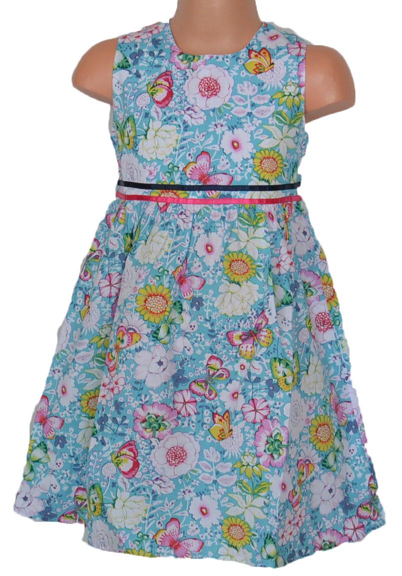 c4ec9401ede9 Topo Dievčenské kvetované šaty so skladmi - modré