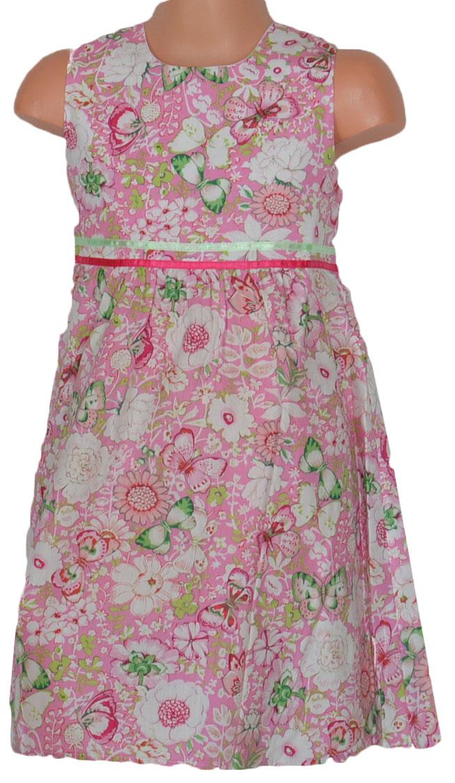 9934f3235a43 Topo Dievčenské kvetované šaty so skladmi - ružové