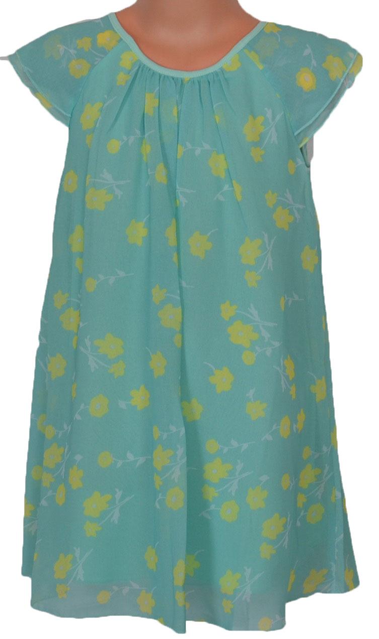 Topo Dievčenské kvetované šaty - žltozelené b8f940637a5