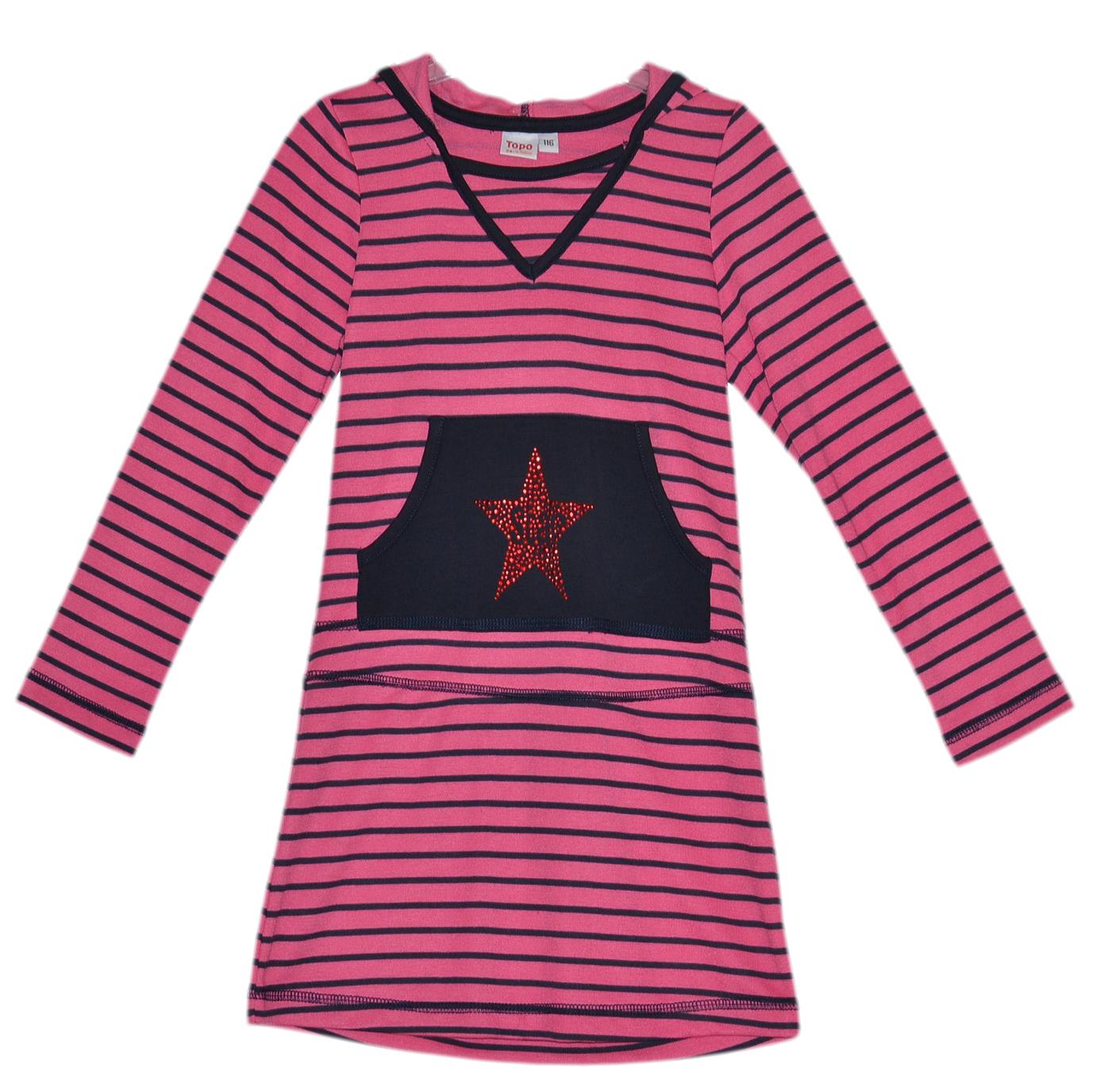Topo Dievčenské prúžkované šaty s kapucňou - ružové d70ced73fcc