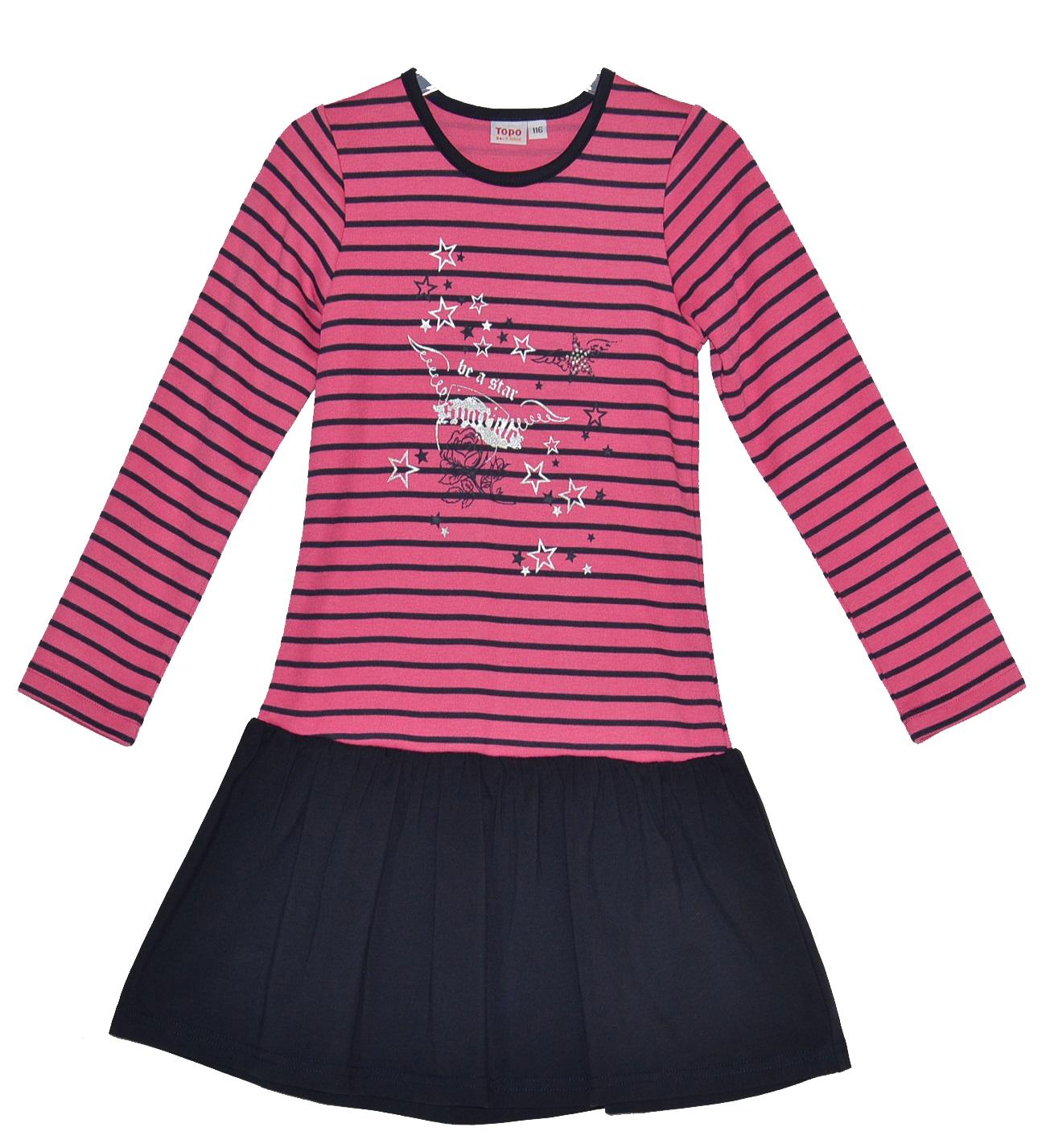 0cc1f97f3d7b Topo Dievčenské prúžkované šaty so skladanou sukňou - ružovo-čierne ...