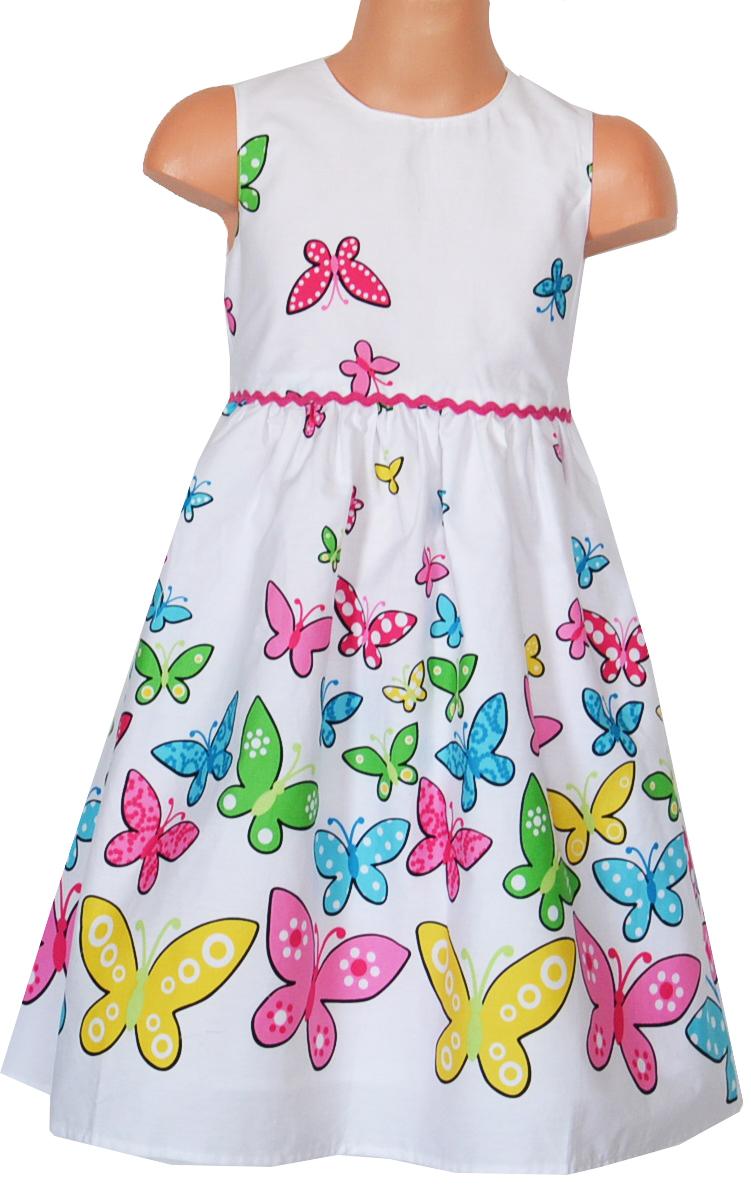 Topo Dievčenské šaty s motýlikmi - biele b2e4fa9c1a7