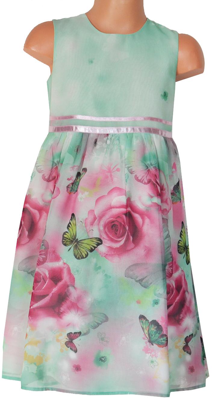Topo Dievčenské šaty s ružičkami a motýliky - mentolové 5eae868cad9