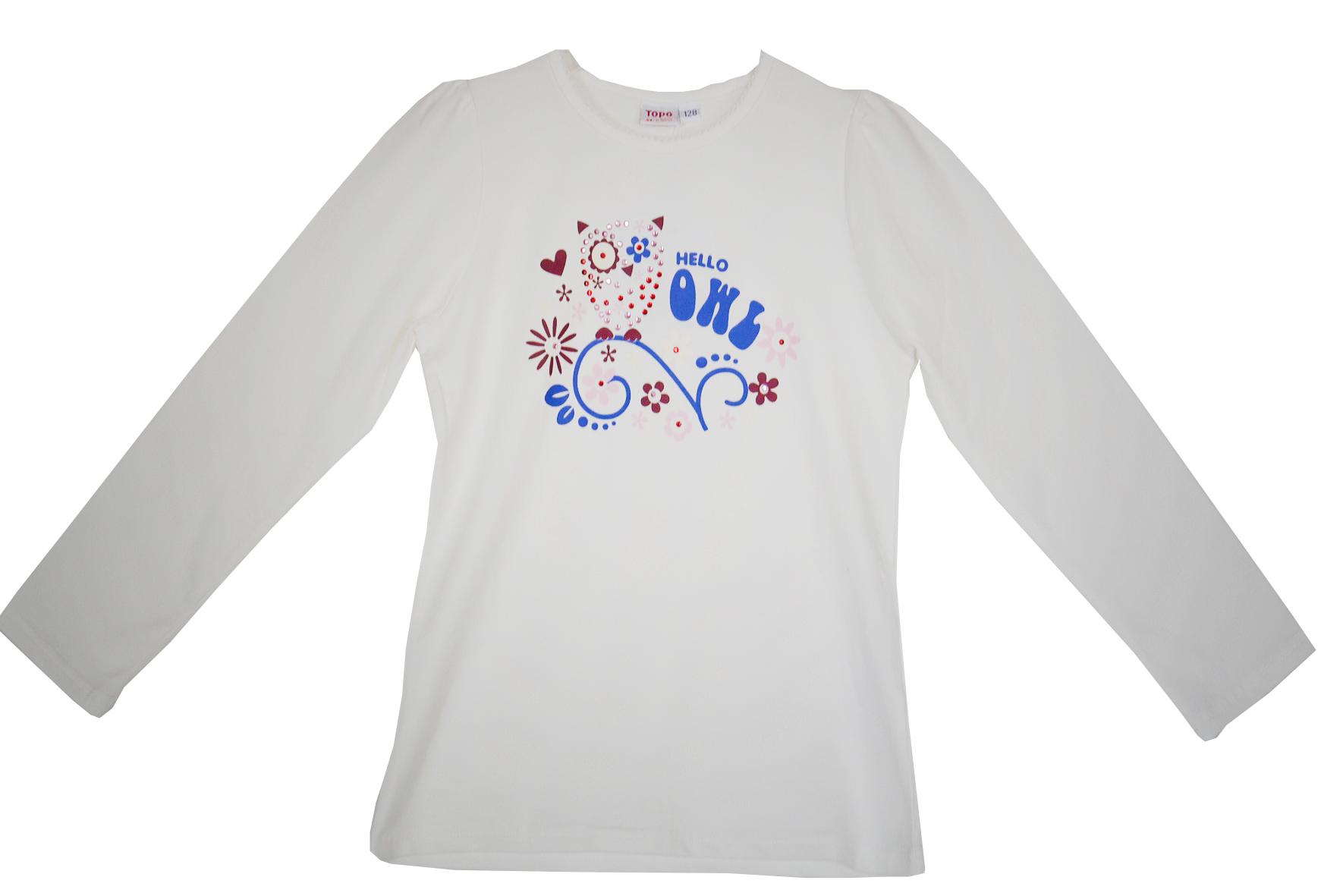 1078278ae98b Topo Dievčenské tričko so sovou - biele