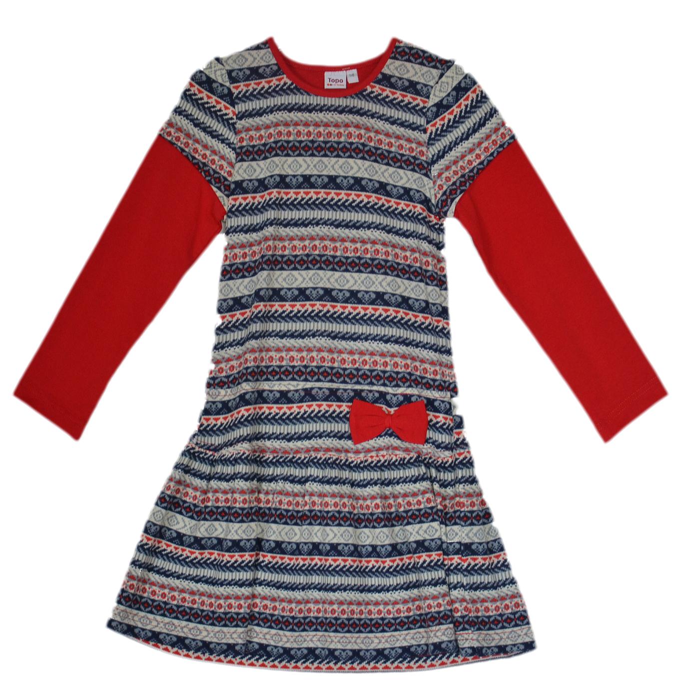 9aa114267 Topo Dievčenské vzorované šaty s mašľou - farebné, 92 cm ...