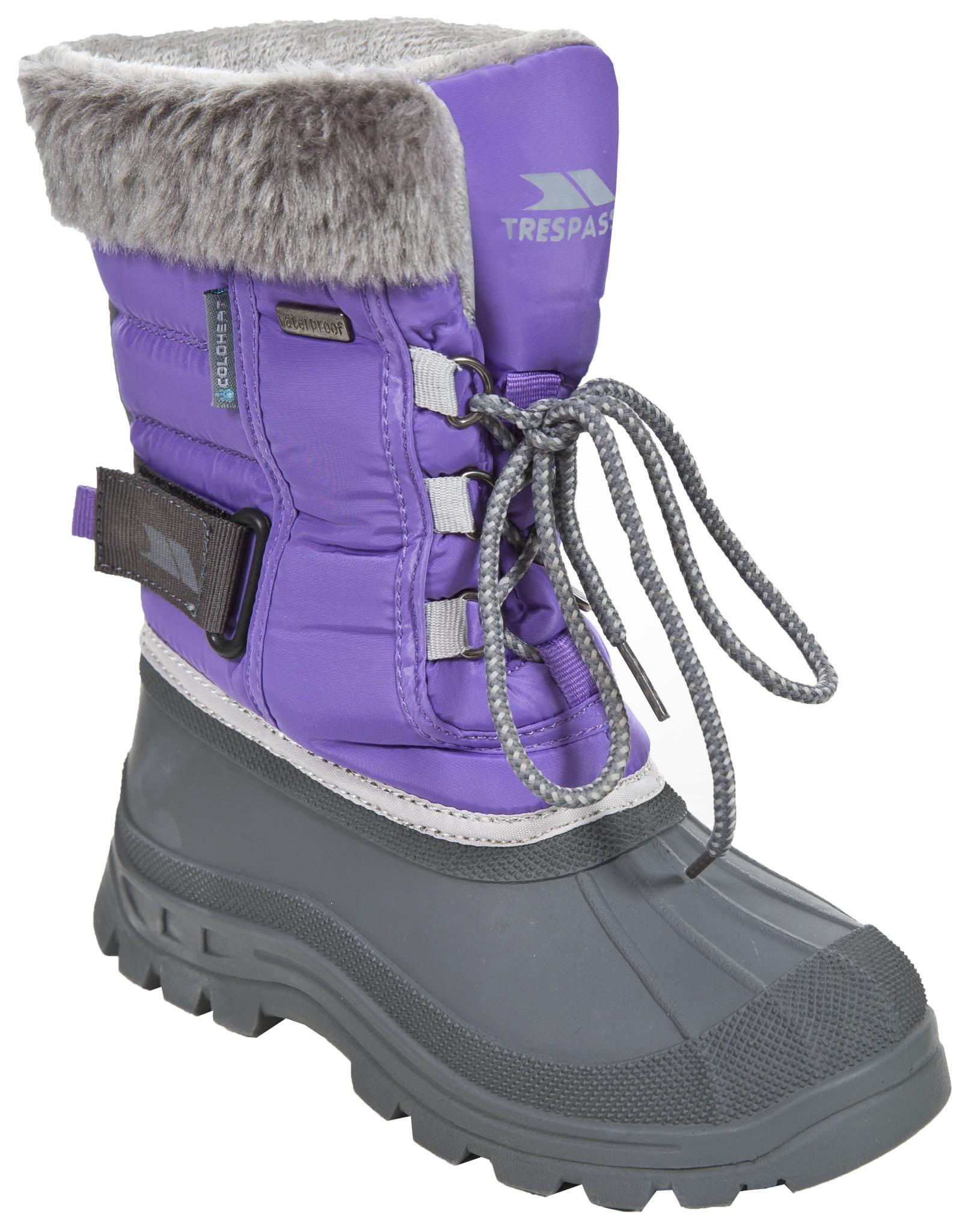 5a52995ee571 Trespass Dievčenské snehule s kožušinkou Stroma - fialové